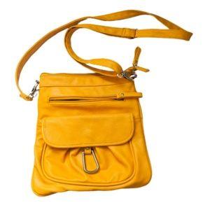 Braciano Mustard Crossbody Purse Zip Pockets